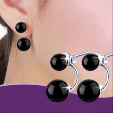 luxury Fashion Red color Black Double Sided Round Earring  Stud Earrings For Women Fine jewelry Wholesale Natural stone earrings