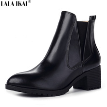 LALA IKAI Genuine Leather Women Boots Pointed Toe Ankle Boots for Women Chelsea Boots 2016 Med Heeled Shoes Woman XWN1143-4