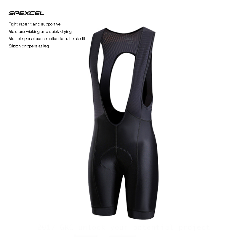 SPEXCEL Black CYCLING BIB SHORTS PRO TEAM Race Lightweight cycling bottom Ropa Ciclismo Italy grippers at leg High density PAD<br>