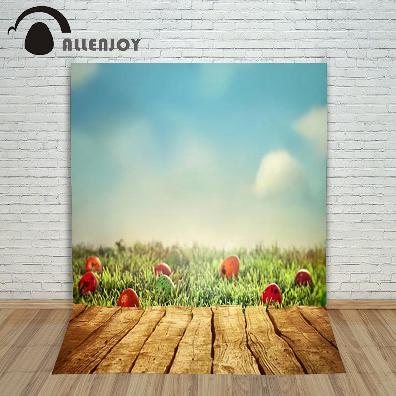Allenjoy Easter backdrop eggs Lawn wood sky lovely cute geen children backgrounds for photo studio studio microphone<br><br>Aliexpress