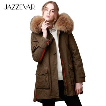 De JAZZEVAR nuevo 2016 chaqueta de invierno parkas de la mujer verde del ejército Grande de piel de mapache con capucha mujer outwear ropa suelta