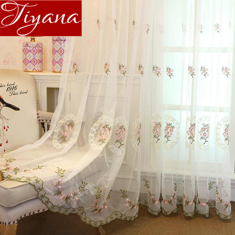 Pink Flower Curtain Sheer Voile Curtinas for Living Room Tulle Curtain Fabrics Cortinas Rideaux Drapes Blue Custom X487 #30