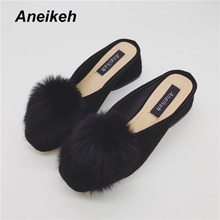 Aneikeh 2017 Pom Pom Rabbit Hair Slipper Women 6CM Hoof Heels Shoes Woman Square Head Gladiator Sandals Slipper Black Brown(China)