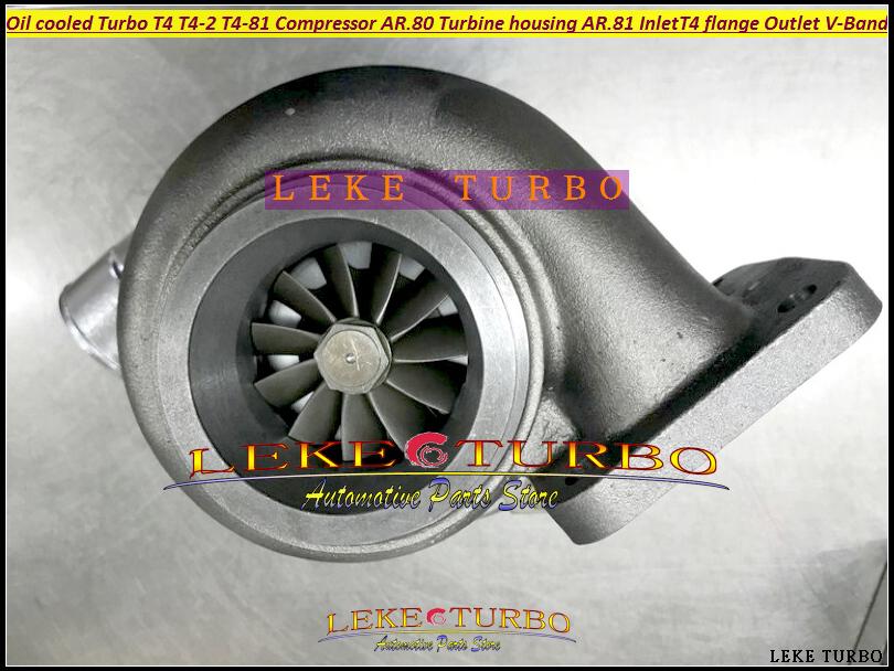 BEST Turbo T4 T4-2 T4-81 Oil cooled Turbine Turbocharger Compressor AR.80 Turbine housing AR.81 Inlet T4 flange Outlet V BAND (5)