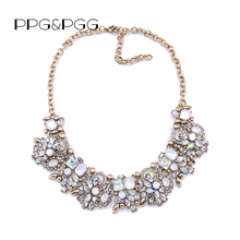 PPG&PGG 2017 NEW Z style Fashion Choker Neckless Unique collar pendants Statement Jewelry for Women Crystal Maxi necklaces(China)