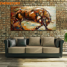 Unframed Abstract Strong Bull Oil Painting 100% Hand-Painted Wall Art Picture Room Decoration Handmade Painting Home Artwork(China)