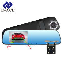 E-ACE Full HD 1080P Car Dvr Camera Mirror With Dual Lens Video Recorder Dvrs Rearview Cameras 10 Led Light Night Vision Dash Cam