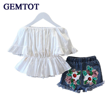 GEMTOT Girls Clothing Set T shirt + Skirt 2Pcs Suits Winx Club Cartoon Kids Set Children's clothes Free shipping(China)