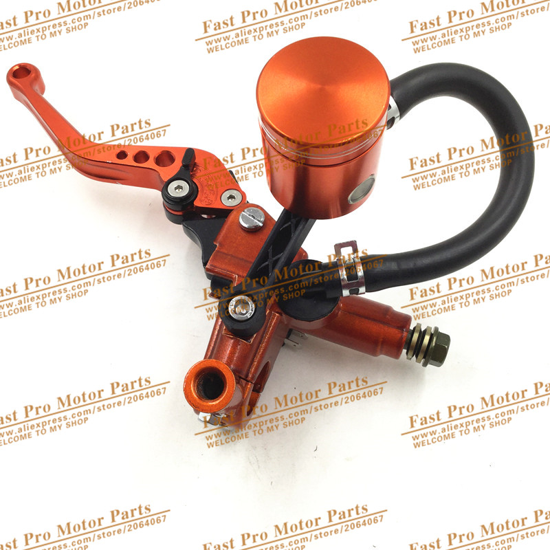 Hydraulic Clutch Lever for KTM Dirt Bike Pit Bike  With Mirror Mounts Brake Lever motorcycle motocross CNC Oil Cup Orange Colour<br>