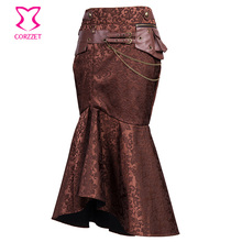 Corzzet Vintage Stylish Brown Brocade Steampunk Trumpe Skirt High Waist Sexy Slim Long Mermaid Ruffle Maxi Gothic Skirts(China)