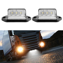 2Pcs 12V 3LEDs Car Licence Plate Light Rear Tail Lamp 6000K White For Truck Trailer Lorry Auto Lighting