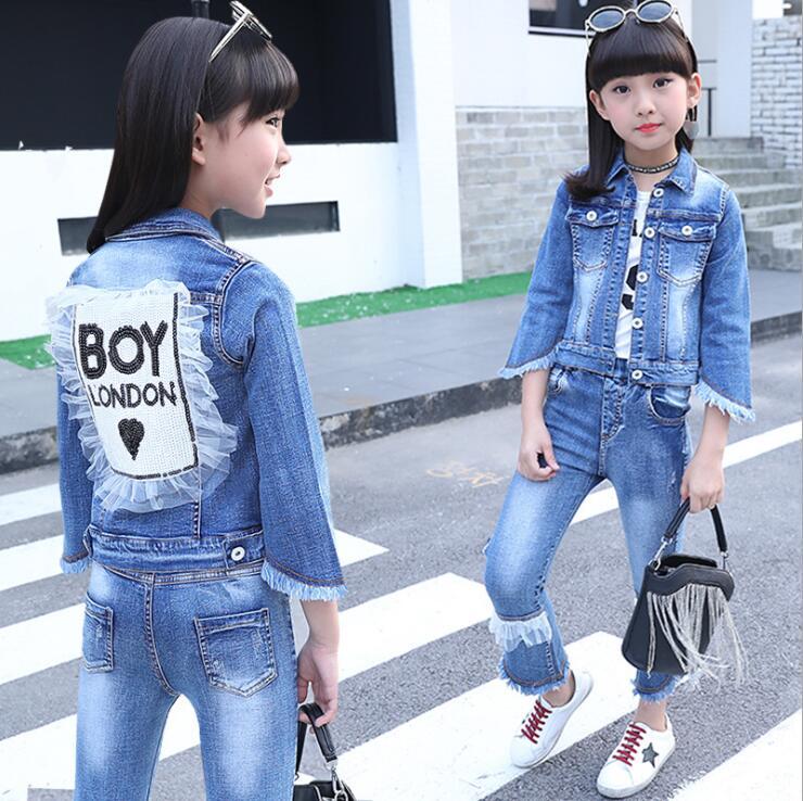 Baby Fashion Clothing Kids Girls Cowboy Suit Children Girls Sports Denim Clothes Letter Denim Jacket + T-shirt+Pants 3Pcs set <br>