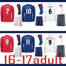 Free patch GT HOT Thai AAA best Quality adult Kit Shirts + Socks Long-Sleeves Manchesteer 16 17 Home Away 3RD Uniteds Shirts