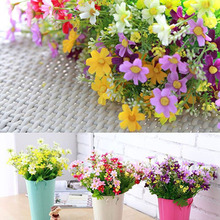Big Sale 1 Bouquet 28 Heads Fake Daisy Artificial Silk Flower Home Wedding Decoration Christmas Gift Optional Color(China)