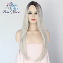 Simulated Scalp Synthetic machine made Wig 1b ombre Grey color 150% density Heat Resistant hair fiber cosplay Party wig for gift
