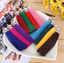 10pc/lot 80mm Length Suede Tassel For Keychain Cellphone Straps Jewelry Charms Chinese Knot Satin Tassels With Rose Gold Caps Z9(China)