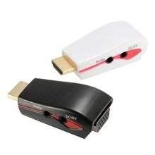 Portable 1pcs Male to VGA Female 1080P HDMI Video Converter Adapter + USB Power Audio Cable PC for PS3 for XBO/X360 for HD Box