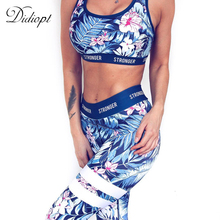 Didiopt Tracksuit for Women Print Floral Sport Suit Comfortable Blue Sleeveless Workout Set Sportwear Yoga Set 2017 Summer S1379