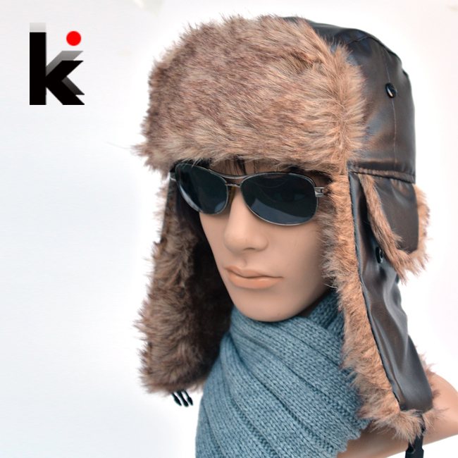 Free shopping 2014 High Quality winter man aviator hats Russian Fur Hat  sport outdoor ear flaps bomber lei feng caps for men fc5fa98fae1