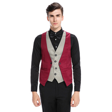 Mens Suit Vest Waistcoat Red Brown Fake Two Piece Dress Waistcoat Men Wedding gilet Clothing Slim Fit Blazer Vests For Men Sale(China)