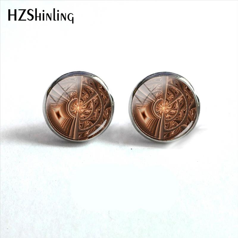 2018 New Julian Disc Earring Silver Round Glass Dome Cabochon Jewelry Handmade Photo Ear Stud For Women HZ4