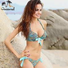 push up bikini roupa de praia Swimwear Women Padded Fringe Bandeau Bikini Set New Swimsuit Lady Bathing suit(China)