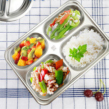 Stainless Steel Plate Dishes Restaurant Customer Dish Baby Tray Isn't Easy To Break Easy To Wash Compartment Plates Dishes-037(China)