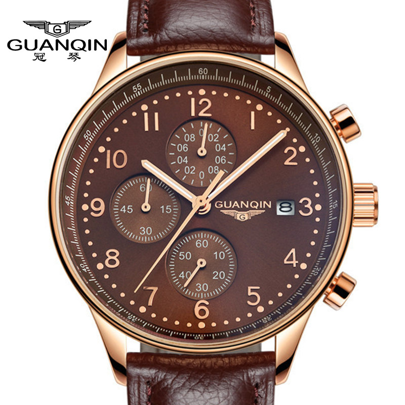 Luxury Men watches Quartz Military Wristwatches brand GUANQIN Hour Date Clock  Man Leather Chronograph Fashion Sports Watches<br>