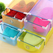 Minch Shoe Storage Box 1pc Shoes Box Drawer Plastic Foldable Shoes Container Stackable Home Waterproof Organizer Boxes(China)