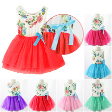 Hot New 2015 Summer Baby Girls Toddler Kids Sleeveless Princess Dress Bow Flower Bowknot Tutu Dresses Clothes For Party Cheap Z1