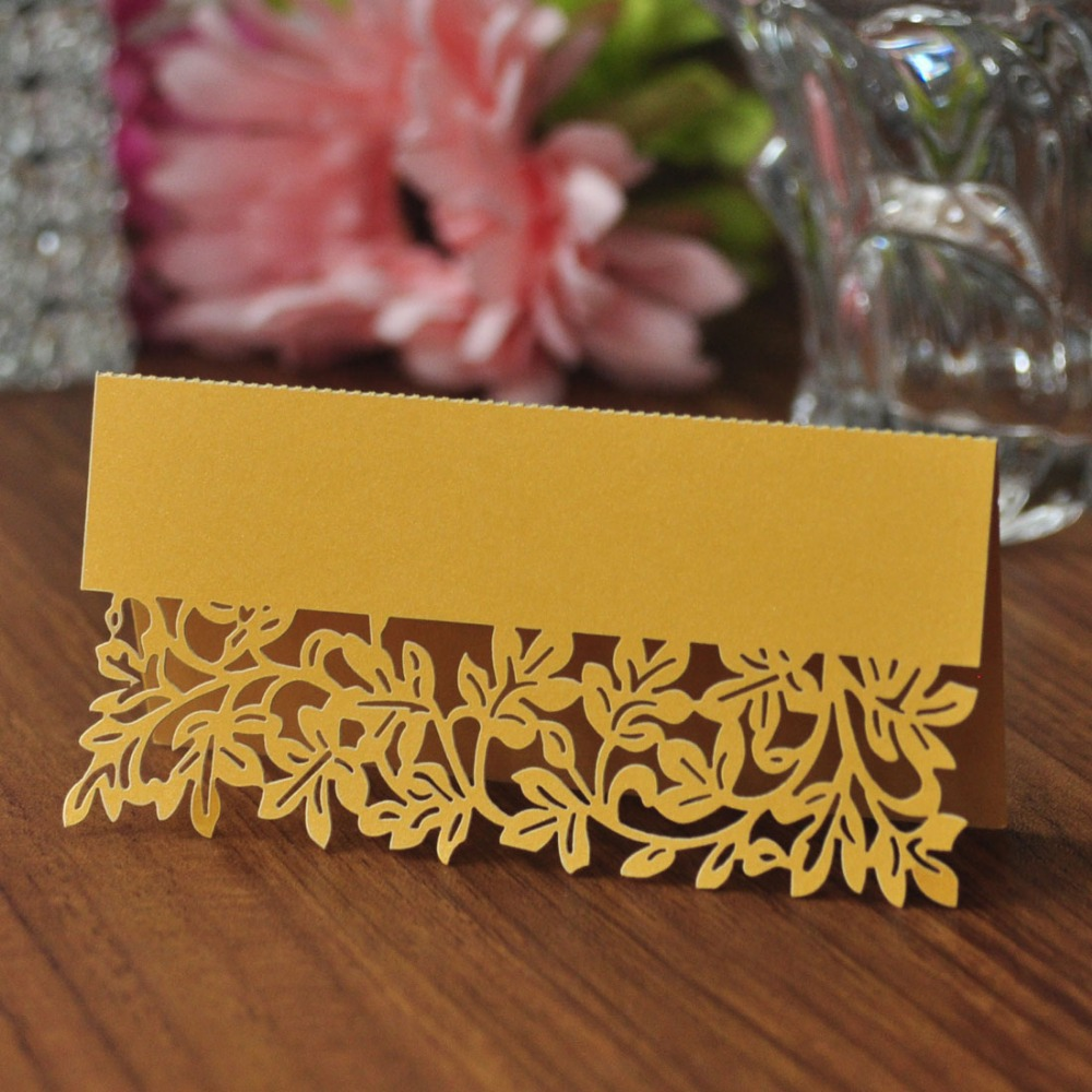 50pcs/pack Gold Leaf Shaped Laser Wedding Party Table Mark Card Name Place Cards Favor Decor Party Supplies(China)