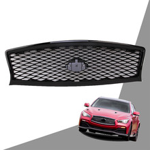 Grill Fit for Infiniti Q50 Q50L 2014 2015 2016 2017 Front Bumper Hood Grille Bright Black Color