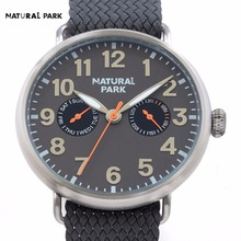 Unisex Watch Swiss Quartz Mov Fashion Brand Watch Men Casual Wristwatch NATURAL PARK relojes hombre hand made Nylon Strap 3ATM
