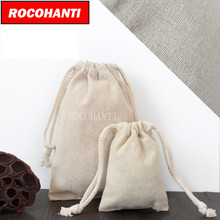 30X Custom Order Accept Burlap Linen Bags Cotton Linen Shopping Bag with Thick Drawstring Rope(China)