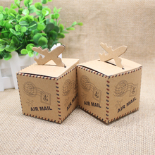24pcs/Lot European Vintage Airplane Candy Box Bridal Wedding Casamento Kraft Paper Candy Favor Box Event Party Boxes Supplies