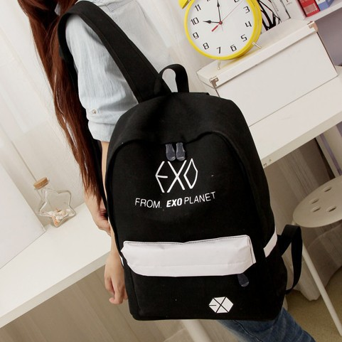 2016 new Womens Colorful Canvas Backpacks Rucksacks Men Student School Bags For Girl boy Casual Travel EXO bags Mochila t56<br><br>Aliexpress