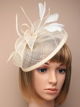 2016 Sinamay Fascinator Hat Feather Wedding Fascinator Hair Headdress Navy Blue Red Black Beige/Ivory Yellow Royal Fascinator