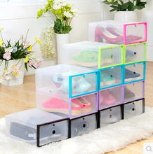 5PCS/SET FASHION Multi-function Clear Foldable Strong Plastic Shoes box Storage Box Organizer Drawers Stackable Organizer(China)