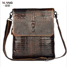 New Men Genuine Leather Cowhide Crocodile Patterns Vintage Cross Body Bag Messenger Shoulder Business Casual Bags(China)