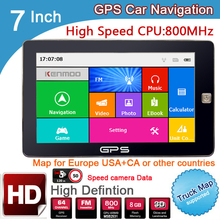 New 7 inch HD Car GPS Navigation 800M/ FM/8GB/DDR3 2016 Maps For Russia/Belarus/ Europe/USA+Canada TRUCK Navi Camper Caravan