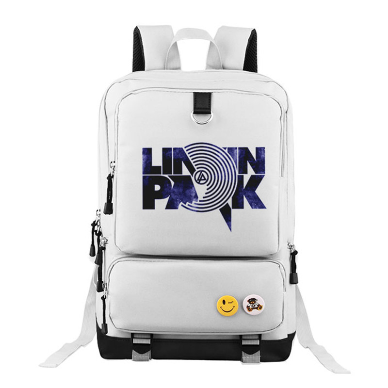 High Quality Linkin Park Hip Pop Rock Music Printing Women Men Backpack Canvas School Bags for Teenagers Military Laptop Bags<br>