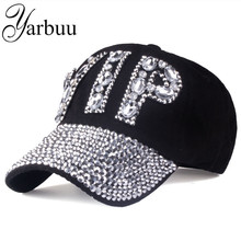[YARBUU]CAP Wholesale 2017 Hat Rhinestone Print Denim hat Rivet Sun-Shading VIP Baseball Summer Women's Cap Jean Caps hip hop(China)