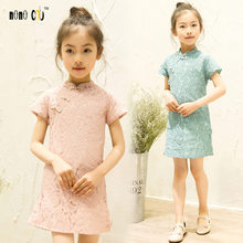 2017 Fashion Summer Kids Dress For Girl Solid Lace Vintage Children's Girl Dresses Sweet Ethnic Cheongsam Girls Vestidos 3-12 Y