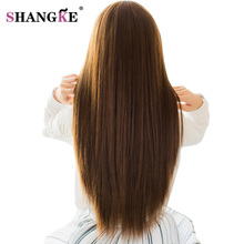 SHANGKE 5 Clip In Hair Extensions Strong Clip On Hair Extensions Heat Resistant Synthetic Hair Pieces Natural Clip Fake Hair(China)