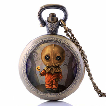 Cute Scarecrow Pocket Watch Necklace -Trick r Treat Sam Pendant- Mens Womens Kids Gifts