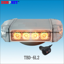 Free shipping!TBD-6L2 High quality Yellow LED mini lightbar,Car Roof Flash Strobe, Magnets,DC12V/24V Car Flashing warning light