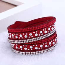 2016  New foreign Aliexpress sell fashion and personality, selling leather  hot drilling and multilayer bracelet
