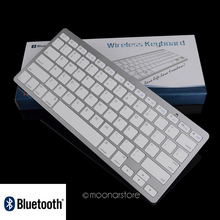 Silver Ultra Slim Wireless Bluetooth Keyboard for Apple OS iPad 2 3 4 Mac Powerbook iBook Macbook(China)