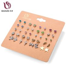 Danze 20 Pairs/lot Punk Mixed Bird Star Cross Shaped Small Stud Earrings Set For Women Imitation Pearl Jewelry Brinco Feminino