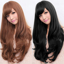 Strong beauty Hair Synthetic Long Loose Wavy Wigs Long Curly Fiber Cospaly Natural Wavy Wigs For Women Heat Resistant(China)